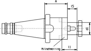Kombi-Fräseraufsteckdorn SK 30 / d1= 32 mm