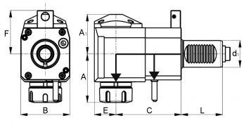 Radial Bohr- und Fräskopf VDI40 DIN 5480, ER32 (470E) - KURZ, IK