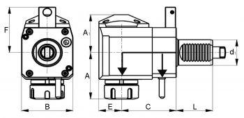 Radial Bohr- und Fräskopf VDI40 DIN 1809, ER25 (430E), links