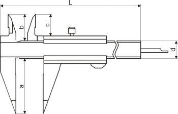 Klein-Messschieber, mit spitzem Schnabel, Messbereich 100 mm, 1/20