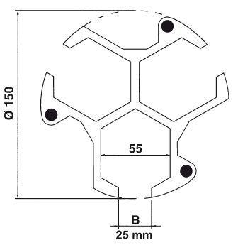 Posistop Drehfutteranschlag, Höhe 25 mm