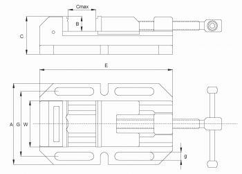 W=100 mm | Bohrmaschinen-Schraubstock Typ BMSR