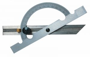 Steel protractor, satin chrome finished , length 150 mm