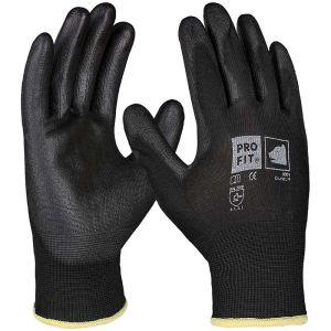 PU fine knitting glove black