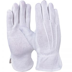 Microdot cotton tricot glove, white burls on the palm