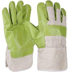 Kunstleder Handschuh, grün/gelb, Größe 10