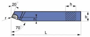 Gerader Drehmeißel, DIN 4971, ISO1, R+L