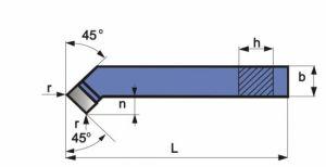 Gebogener Drehmeißel, DIN 4972, ISO2, R+L