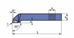 Abgesetzter Seiten-Drehmeißel, DIN 4980, ISO6, R+L