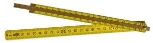 Holzgliedermaßstab mit ausziehbarer Messingzunge, 2.0 m, gelb