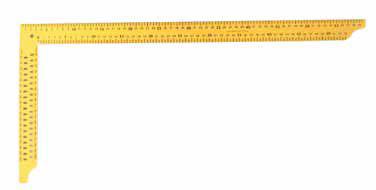 Zimmermannswinkel (gelb) 35 mm breit, pulverbeschichtet, mit Anreißlöchern
