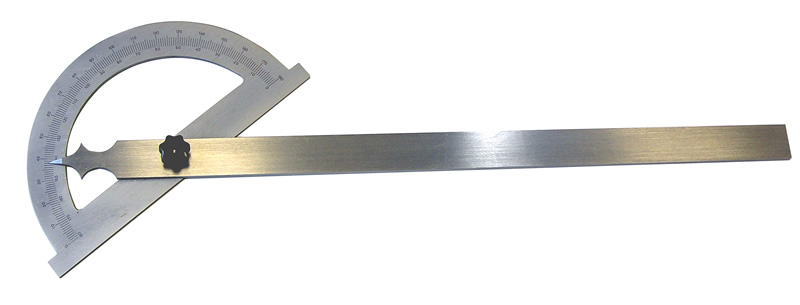 Steel protractor, satin chrome finished , length 600 mm