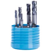 Solid carbide end mill set 4 fl utes short